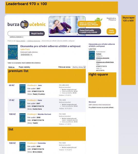 Umístění pozic na serveru BurzaUčebnic.net